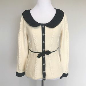 Anthropologie Guinevere Cream and Black Sweater
